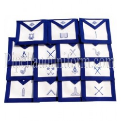Embroidered Blue Lodge - Set of 15 Masonic Aprons
