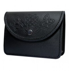 Black Leather Embossed Pouch