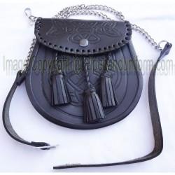 Black Pipe Band Leather Sporran