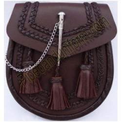 Pipe Band Semi Dress Brown Leather Sporran