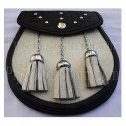 Pipe Band Black Leather Cow Sporran