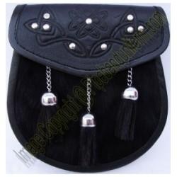Pipe Band Black Leather Sporran
