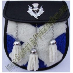Pipe Band Fur Sporran with Thistle Badge