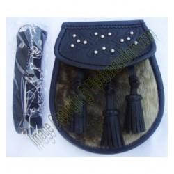 Pipe Band Black Leather Sealskin Sporran