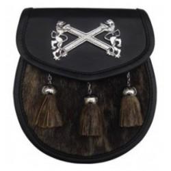 Scottish Cross Pipe Band Black Leather Sporran