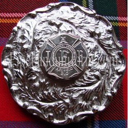 Firefighter Badge Pipe Band Plaid Brooch