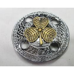 Piper Drummer Plaid Brooch - Irish Leaf Badge
