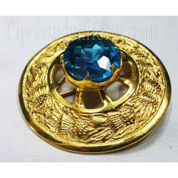 Piper Drummer Plaid Brooch with Blue Stone